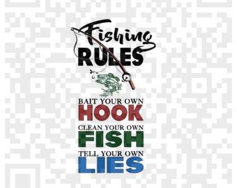 Fishing Rules png, Fishing Rules Wall Art quote, DIGITAL, Mens Fishing Decor,  Fishing humor, Sublimation Print, Fishing, Sublimation Design