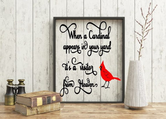 Memorial quote, Missing you floating frame, Personalized memorial, when a cardinal appears in yard it's a visitor from heaven quote