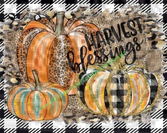 Harvest blessings instant download for print and cut, Pumpkins sublimation png, Fall clipart, Thanksgiving sublimation design