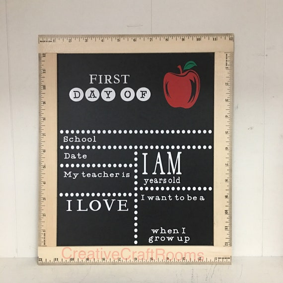 Personalized My First Day Of School Sign, Ruler Framed First Day of School Chalkboard, Reusable Chalk Sign, Back To School Sign, Chalkboard
