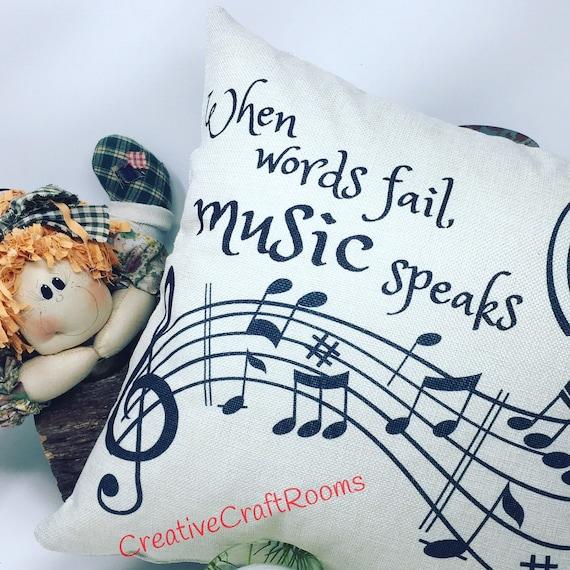 """Music Pillow, 16"""" x 16"""" Musical Notes pillow, Music Notes Pillow, Music Notes Home Decor, Music speaks, Music Pillow, Musician decoration"""