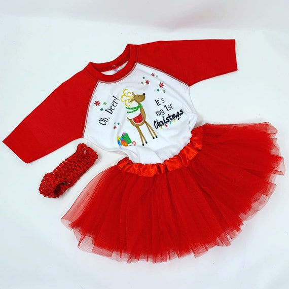 Babys First Christmas Outfit, Baby Girl Reindeer Outfit, 1st Christmas Outfit, Baby Girl Christmas Shirt, Tutu, My First Christmas Outfit