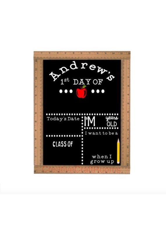 Personalized Ruler Framed Chalkboard Sign, First Day of School Chalkboard, Reusable Chalk Sign, Back To School Sign, Ruler Chalkboard Sign
