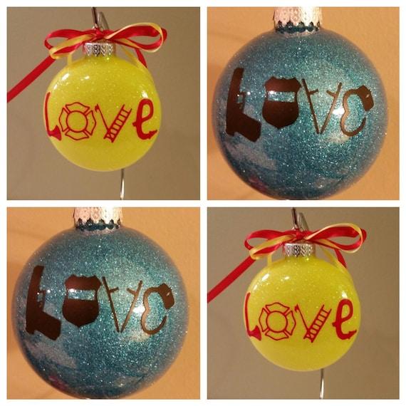 Personalized Hero Glass Glittered Ornament, Police officer gift, Tree, Fireman gift, Firefighter gift ornament, Firemen Love ornament