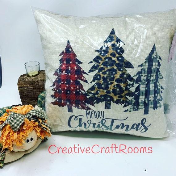 "Christmas Trees Pillow, 16"" x 16""  buffalo plaid pillow, Christmas tree decor, Holiday Home Decor Pillow"