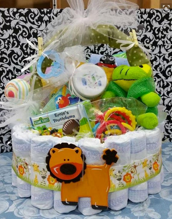 Diaper Cake Basket, Baby shower gift basket, Diaper gift basket, Baby Centerpiece, Baby basket, Baby Easter Basket