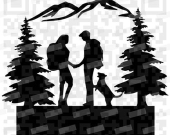 Hiking Couple with Dog PNG and Svg, Hiking Scene svg, Couple Hiking with Dog svg instant download