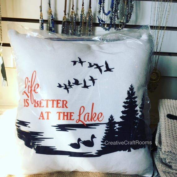 Lake pillow, Life is Better at the Lake Microfleece Pillow, Canvas pillow, Cabin pillow, Lake House Pillow, Lake House decoration
