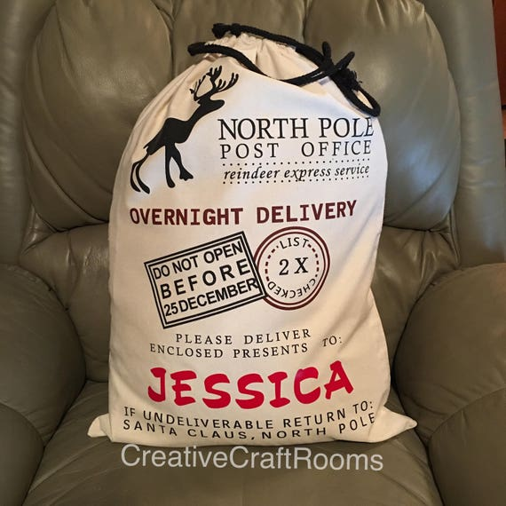 Personalized Christmas Sack, Personalized Santa Bag, Sacks from Santa, Canvas Santa bag, Santa toy bag, Personalized Christmas bag, Toy Sack