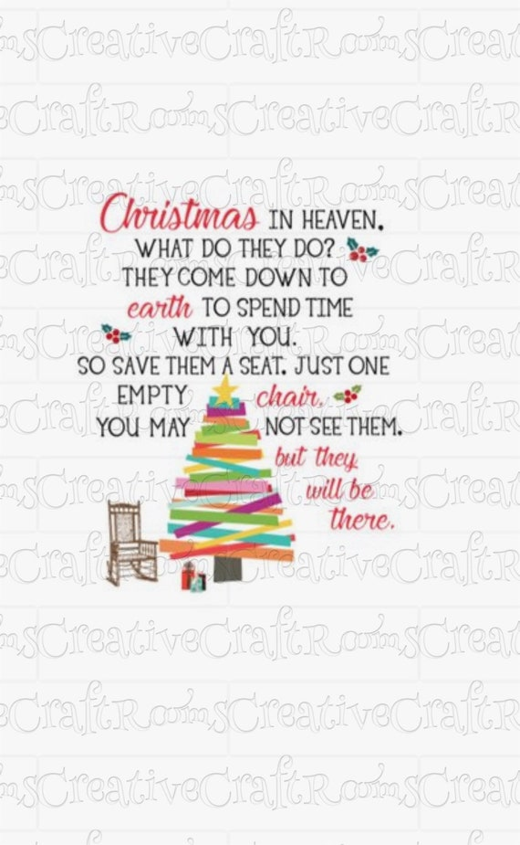 Christmas in Heaven What do they do Sublimation Design Download, Christmas Memorial quote, Sublimation designs, clipart, INSTANT DOWNLOAD