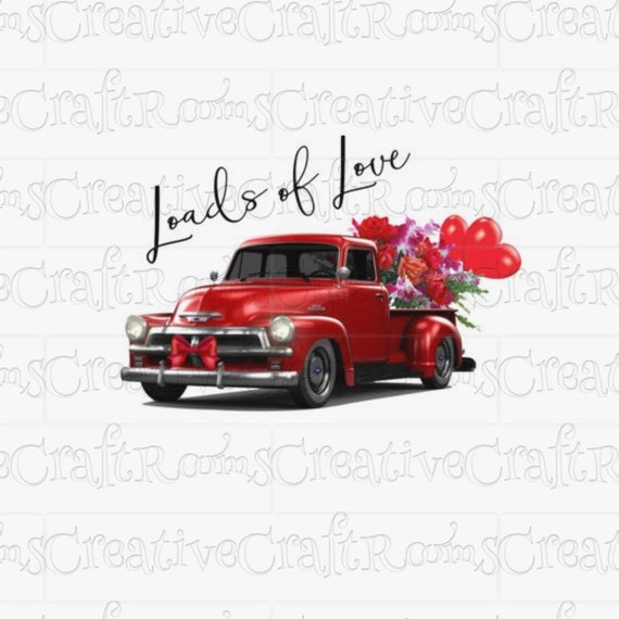 Red Truck Sublimation Design Download, Sublimation download, Sublimation designs, Red Valentine pickup truck clipart, Sublimation graphics