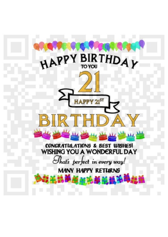 Happy 21st birthday PNG, Sublimation template, Png, 21st Birthday sublimation design, Cricut, Print File, Png cut file, Sublimation, Clipart