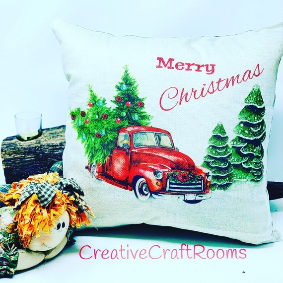 "Red Christmas Truck Pillow, 16"" x 16"" Chevy pickuo truck pillow, Christmas tree truckPillow, Holiday Home Decor Pillow"