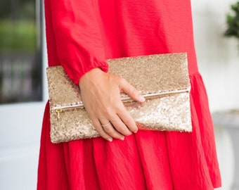 Jillian harris x Etsy Slouchy Gold Sequin Foldover Clutch by de Almeida Designs