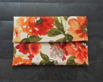 Beige floral envelope clutch, floral clutch, multicolored clutch, clutch purse, beige orange yellow peach, summer clutch, de almeida designs