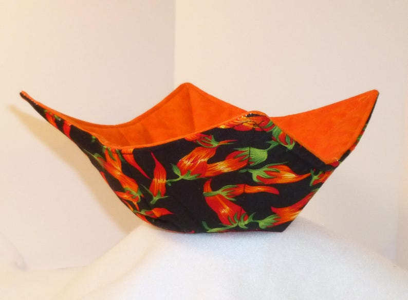 Chili Pepper Microwave Bowl Holder Handmade Bowl Cozy in Red Orange Yellow on Black Cotton