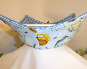 Microwave Bowl Cozy, Bowl Holders, Coffee Cups, Latte, Mocha, Cappuccino, Food, Pot Holders, Brown, Gold, Tan, Blue