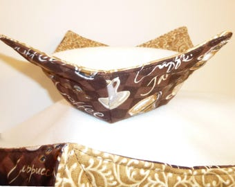 Microwave Bowl Cozy , Bowl Holders, Soup Cozy, Coffee Cups, Latte, Mocha, Cappuccino, Pot Holders, Brown, Gold, Tan,