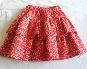 Red Floral childrens skirt. Ruffled skirt. Cotton Print twirling skirt. RaRa Skirt. Elasticated waist skirt. ages 1 - 2years. 100%cotton. UK