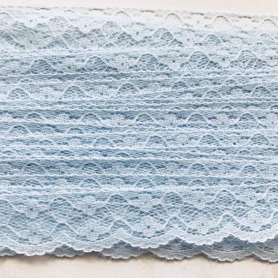 Wedding Bulk New Old Stock,Ribbon Flat Vintage Elegant Blue Lace Trim 26 yds 1.0 Scalloped