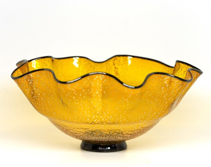Handblown Amber Glass Fluted Bowl with Silver Foil