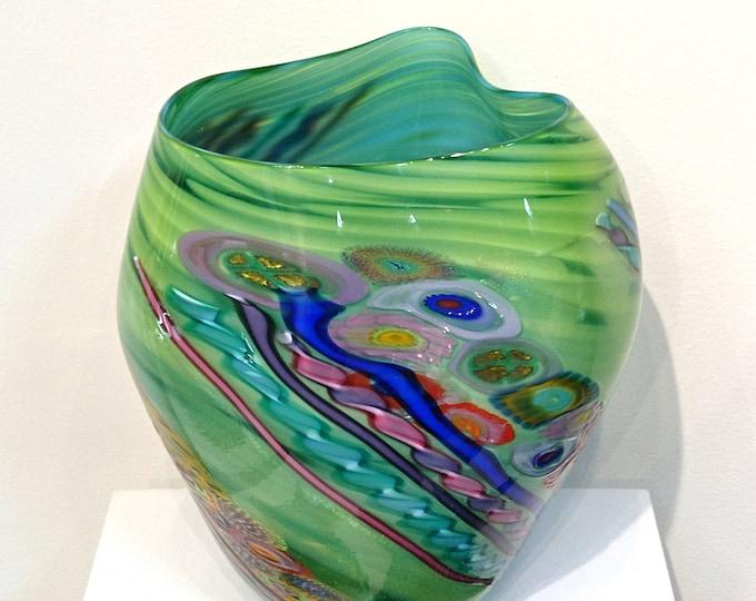 Green Handblown Murrini Vase