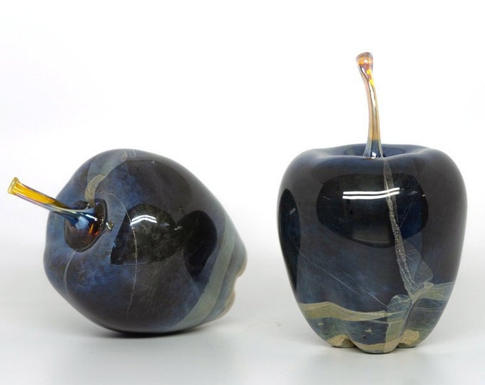 Hand Sculpted Glass Apple Black with Silver