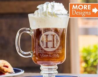 Irish Coffee Mug, Cappuccino Cup, Coffee Cup, Glass Mug, Anniversary Gift For Women, Wedding Coffee Mug, Personalized Glass, Monogram Gift