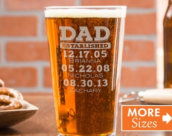 Dad Beer Glass, Dad Est, Gift For Dad, Dad Established Glass, Gift From Wife, Personalized Beer Glass, Custom Pint Glasses, Cheers