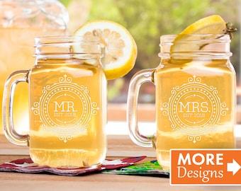 Mason Jar With Handle, Engagement Gift, Mr And Mrs Mason Jars, Couple Mason Jars, His And Her Gifts, Wedding Mason Jar, Gift For Couple