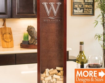 Wine Cork Holder, Shadow Box, Personalized Gift, Wedding Wine Cork Guest Book, Monogram Wine Cork Holder, Etched Box, Wooden Shadow Box