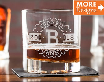 21st Birthday For Him 40th Gift Personalized Whiskey Glass Glasses Low Ball Anniversary