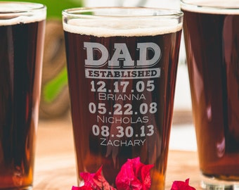 Personalized Gift for Dad - Etched Beer Glass with Kids Names, Gift from Daughter to Dad, from Wife & Kids, Dad Established, Design: DADEST