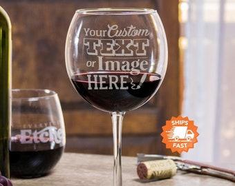 Custom Wine Glasses - Logo Wine Glasses, Personalized Wine Glasses, Engraved Wine Glass for Her, Personalize Wine Glass, Design: CUSTOM