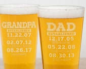 Personalized Beer Glasses for Dad - Father's Day Gift for Dad or Grandpa, Laser Etched Pint Glasses, Design: DADEST