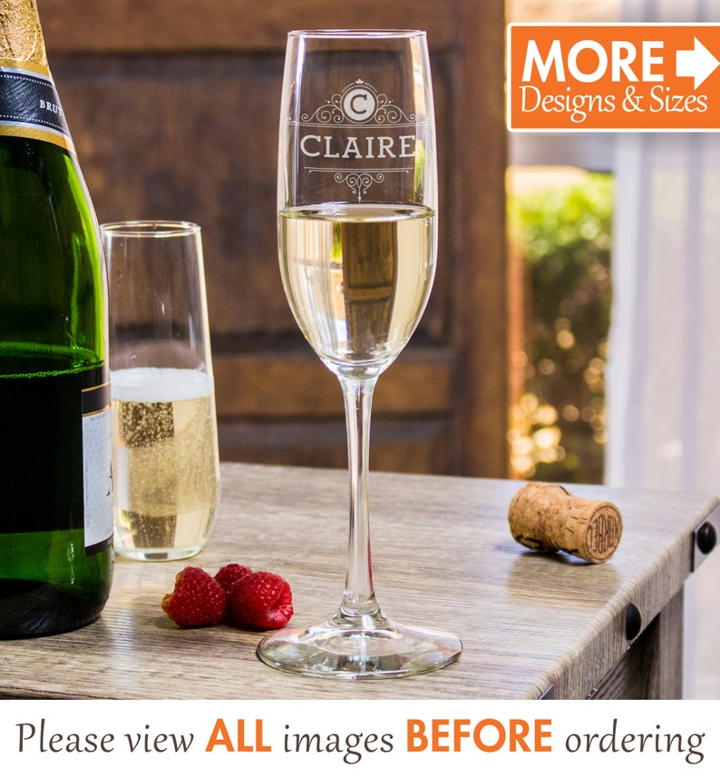 Personalized Champagne Flutes Engraved Champagne Flutes Monogram Champagne Flutes Birthday Champagne Glass Stemless Engraved Etched