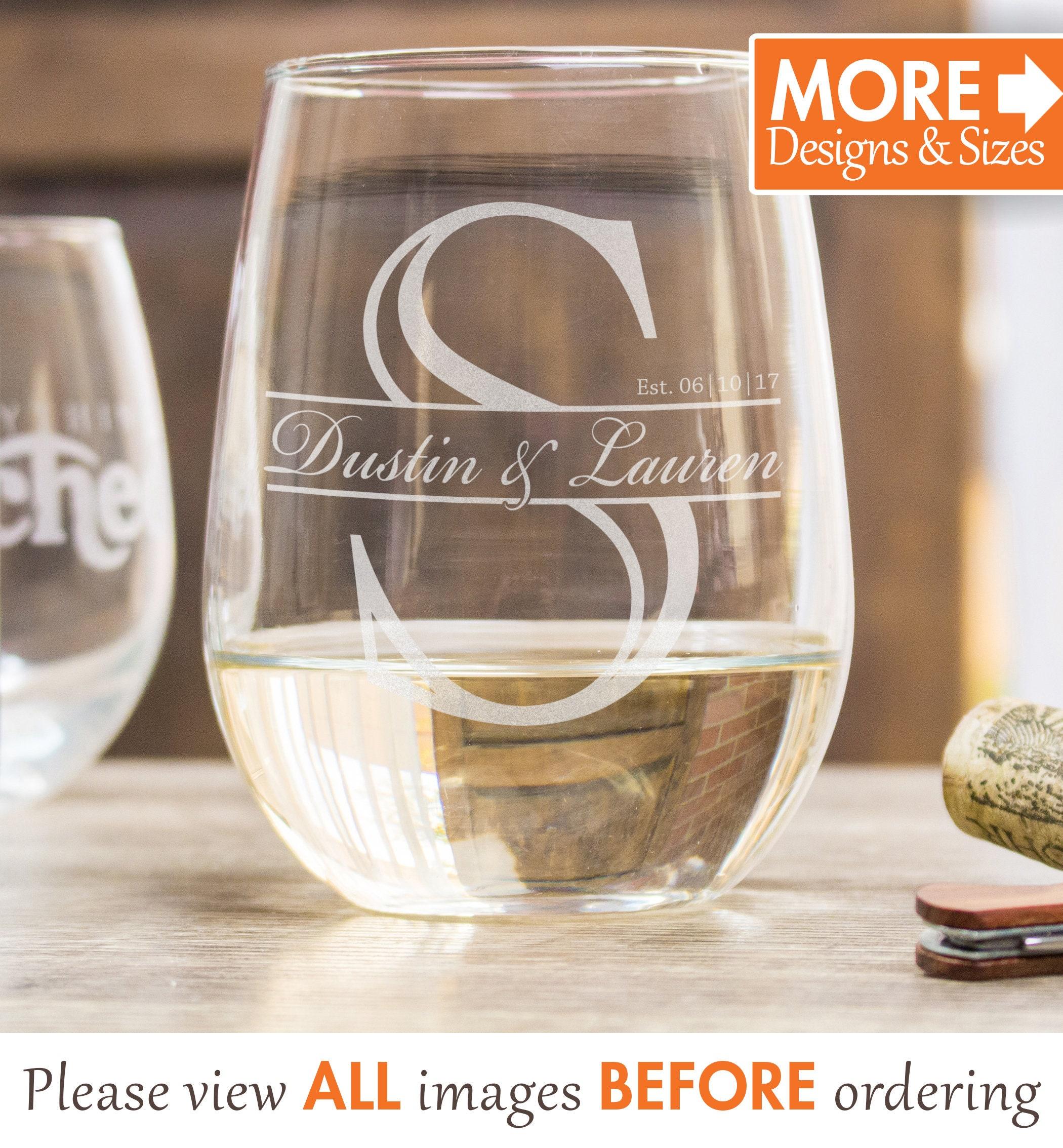 Wine Wedding: Personalized Wine Glass Etched Wedding Wine Glass
