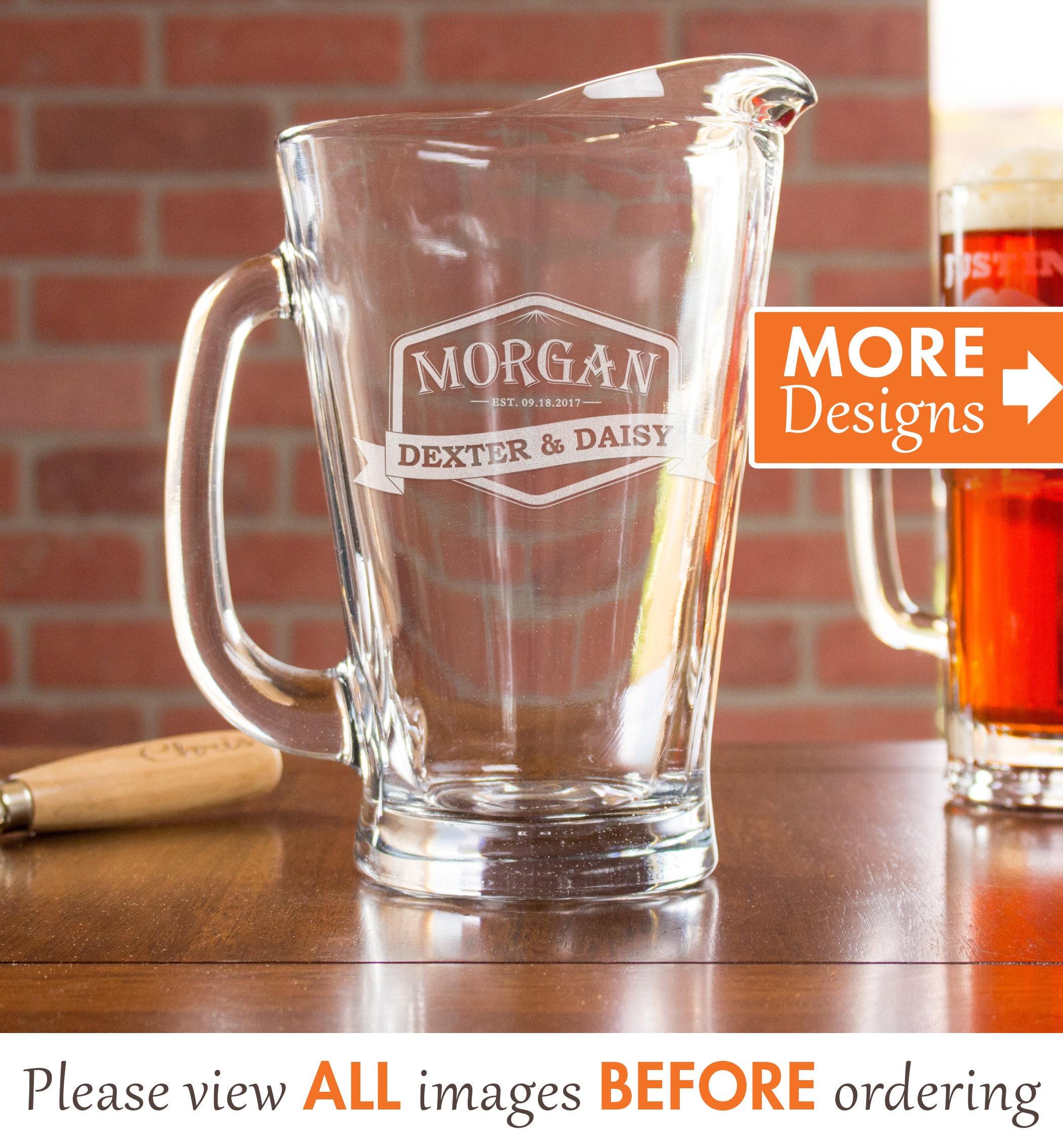 beer pitcher etched pitcher wedding pitcher personalized etsy. Black Bedroom Furniture Sets. Home Design Ideas