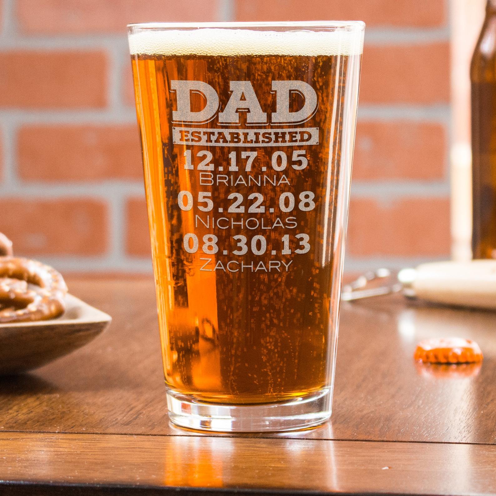 Dad Established Beer Glass