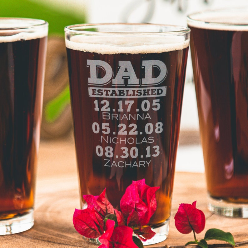 Fathers Day Gift from Daughter to Dad Personalized Beer Glass image 0