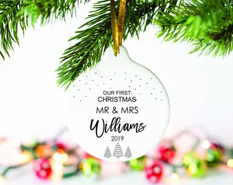 Mr and Mr Mrs and Mrs Mr and Mrs Our first Christmas Personalized gift Custom gift Trio ornament set Newlyweds Gift for them