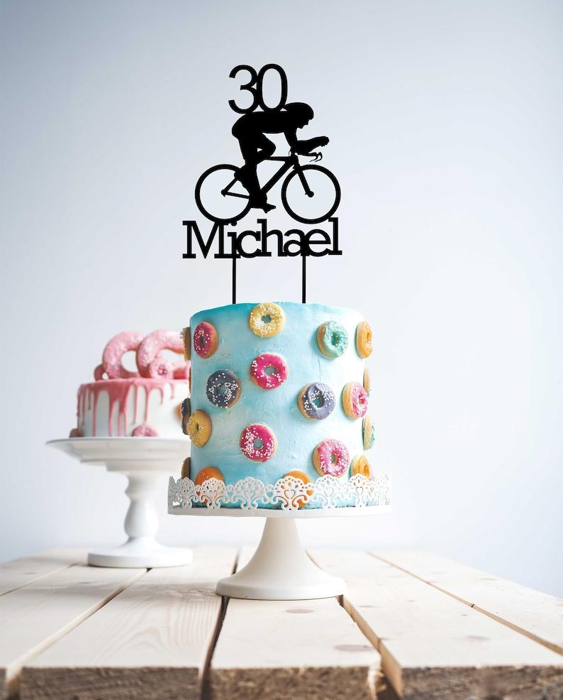 Cycle 30 Cake Topper Bike Rider 30th Wood Birthday