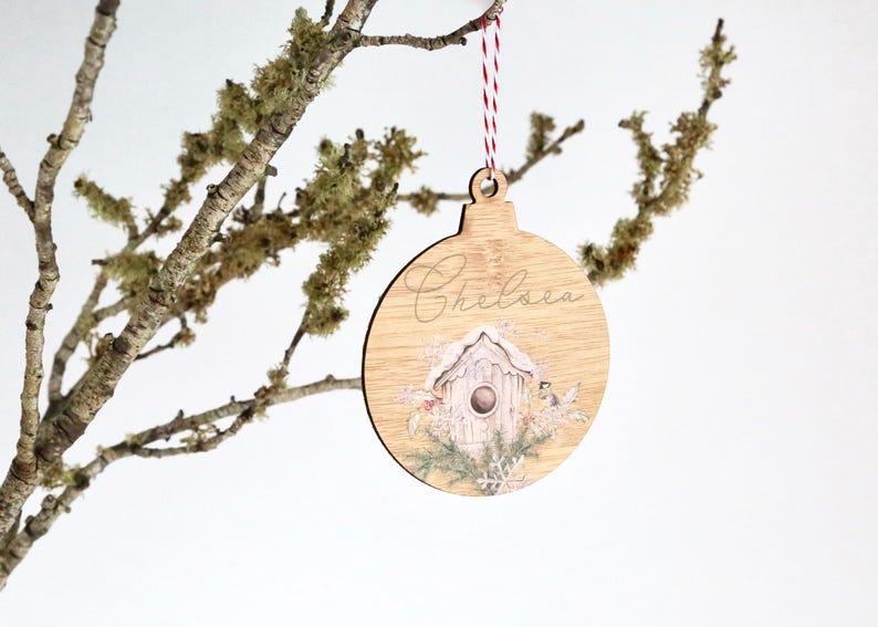 Christmas xmas  Personalised single bird custom made bamboo image 0