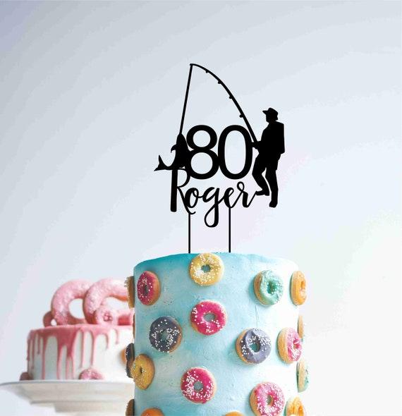 Custom Fishing Personalised 80 Eighty 80th Year Birthday Cake