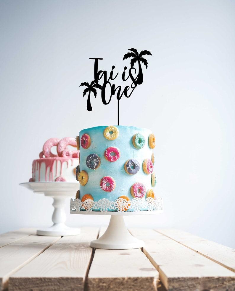 Beach Birthday Big Splash Palm Tropical Cake Topper