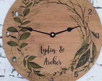 Wedding/Engagement - Personalised clock wood timber bamboo - Leave, leaf, greenery, tropical - Home Living Room Decor clocks wood clock