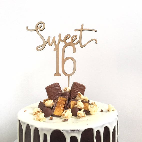 Birthday Cake Topper Sweet 16 16th
