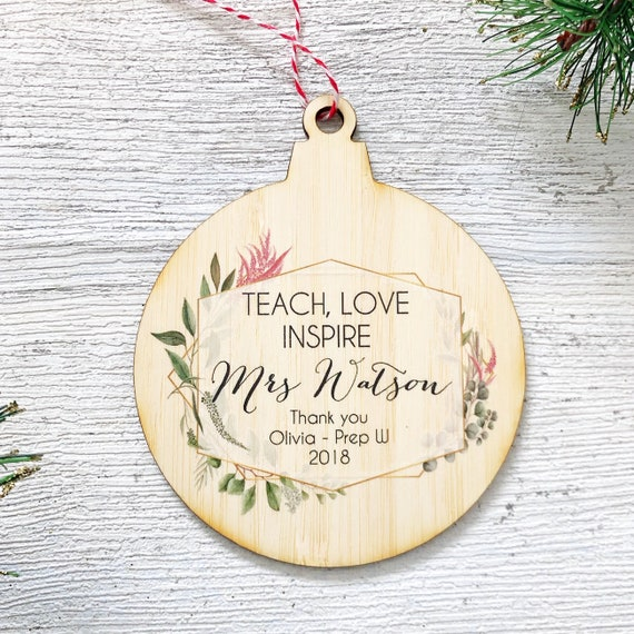 Personalised Teacher Bauble Thank you End of Term Christmas Leaving Present