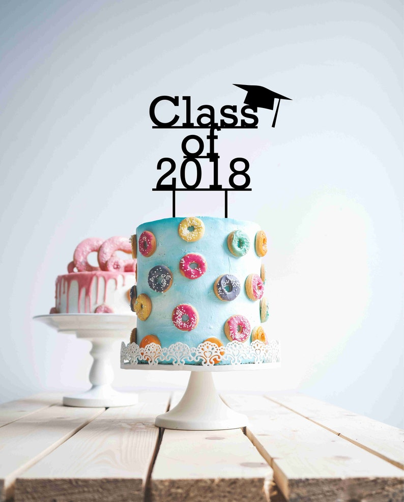 Graduation 2018 Class Of Cake Topper Wood Wooden Birthday Gold Mirro
