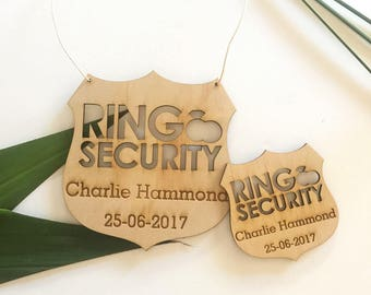 Ring Bearer / page boy / ring security wedding wooden policy security badge /personalised rustic wedding gift